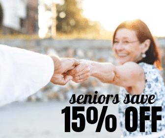 Promotional offer for senior patients to save 15% off showing an elderly lady blurred in the background holding hands with another person in the foreground.
